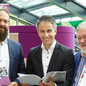 V.l.n.r. Günter Zullus (Vizerektor FH CAMPUS 02), Kurt Hohensinner (Stadtrat), Kurt Eschenberger (Präsident STEHV)